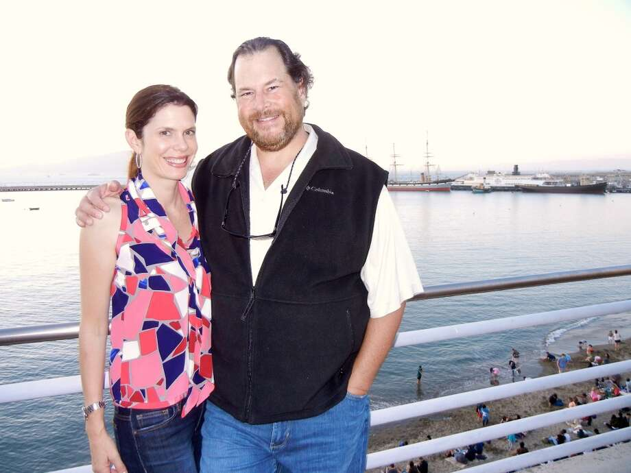 Salesforce founder-CEO Marc Benioff, with his wife, Lynne Benioff, is celebrating the 15th anniversary of his cloudware company Fri., March 7 with a free concert and community volunteering event at Justin Herman Plaza. Photo: Catherine Bigelow