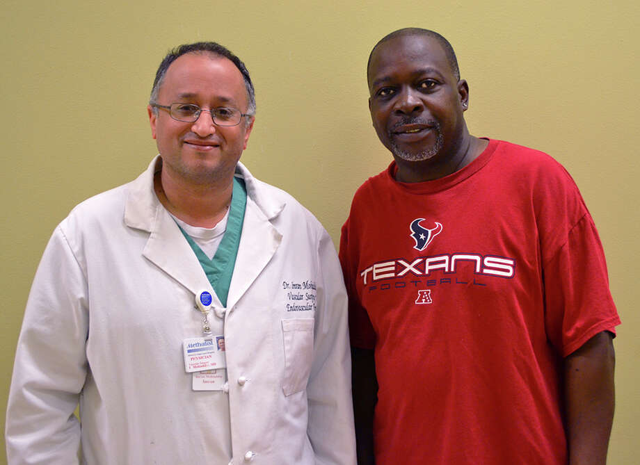 From left, Dr. Imran Mohiuddin, a vascular surgeon at Houston Methodist Sugar Land Hospital, and his patient Willie Mahoney. Photo: Courtesy Of Houston Methodist Sugar Land Hospital