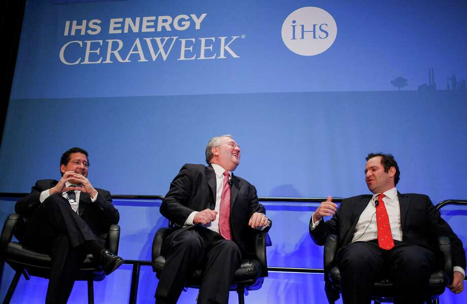 David Goldwyn, president of Goldwyn Global Strategies LLC, from left, Jack Gerard, president and chief executive officer of American Petroleum Institute, and Robbie Diamond, president and chief executive officer of Securing America's Future Energy Alliance Inc. (SAFE), share a laugh during the 2014 IHS CERAWeek conference in Houston, Texas, U.S., on Wednesday, March 5, 2014. IHS CERAWeek is a gathering of senior energy decision-makers from around the world to focus on the accelerating pace of change in energy markets, technologies, geopolitics, and the emerging playing field. Photographer: F. Carter Smith/Bloomberg *** Local Caption *** David Goldwyn; Jack Gerard; Robbie Diamond Photo: F. Carter Smith / © 2014 Bloomberg Finance LP