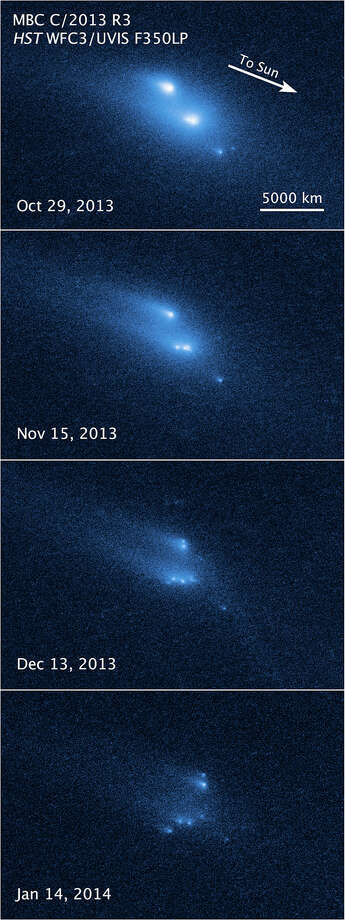 This series of pictures taken by the Hubble Space Telescope chronicles an asteroid falling apart. Photo: NASA,  ESA,  UCLA,  D. Jewitt, HOPD / NASA, ESA, UCLA