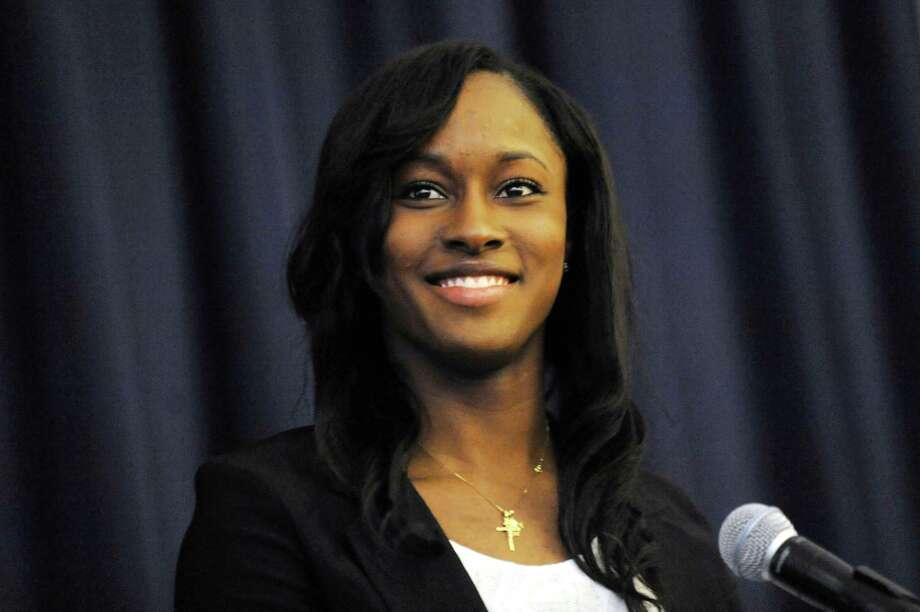 UAlbany's Shereesha Richards wins America East's basketball Player of the Year during an awards reception on Thursday, March 6, 2014, at UAlbany in Albany, N.Y. (Cindy Schultz / Times Union) Photo: Cindy Schultz / 00025985A