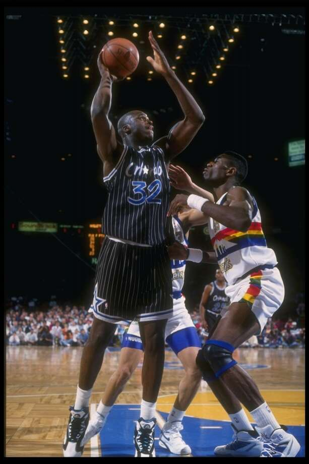 Shaq was named NBA Rookie of the Year in 1993, and voted as an NBA All-Star started.PHOTO: Magic center Shaquille O'Neal looks to shoot the ball during a game against the Denver Nuggets at McNichols Arena in Denver circa 1992. Photo: Tim DeFrisco, Allsport Via Getty Images