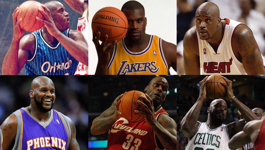 In all, Shaq played for six NBA teams: the Orlando Magic (1992-96), the Los Angeles Lakers (1996-2004), the Miami Heat (2004-08), the Phoenix Suns (2008-09), the Cleveland Cavaliers (2009-10) and the Boston Celtics (2010-11). Photo: All By Getty Images