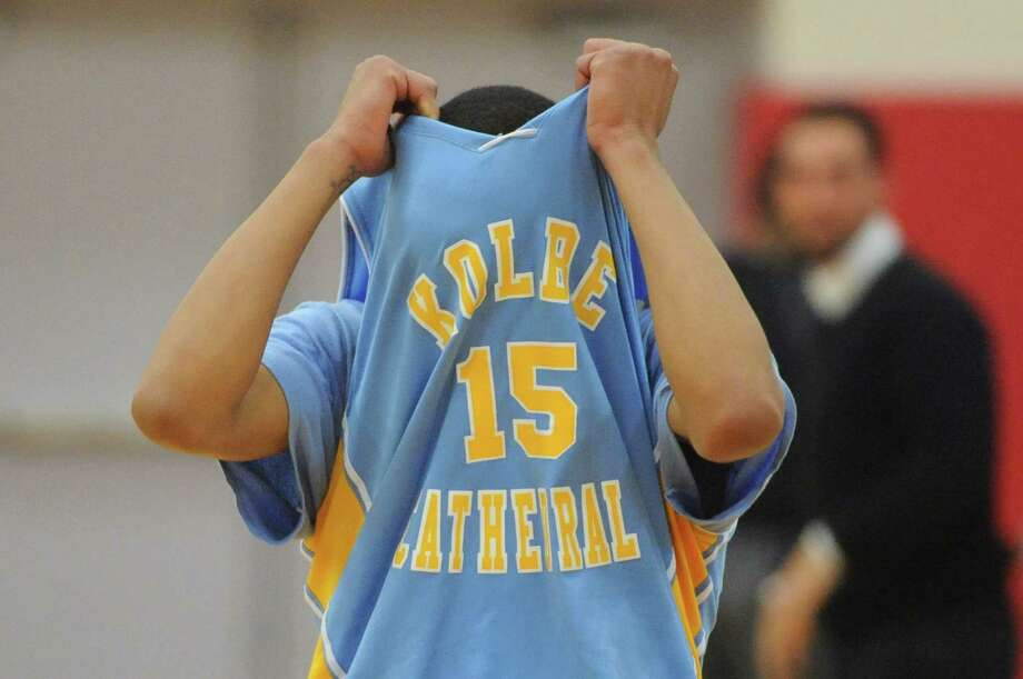 Kolbe Cathedral's Tyler Underwood reacts in disappointment after losing 68-64 to Bunnell in the SWC boys basketball championship game at Pomperaug High School in Southbury, Conn. Thursday, March 6, 2014. Photo: Tyler Sizemore / The News-Times