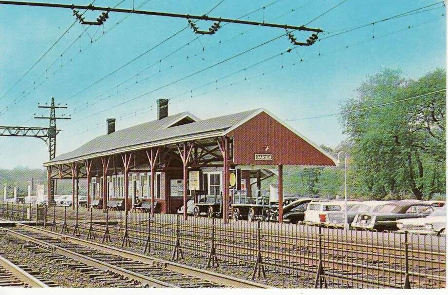 The Darien Train Station was originally built in 1894; this postcard was created after the railroad transitioned to electric service in 1914. Photo: Contributed Photo / Darien News