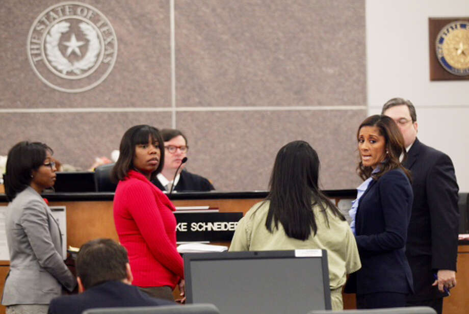 Hearing at the Harris County Juvenile Court for the case with the 16-year-old who left her newborn in a dumpster  on February 25. Photo: Houston Chronicle / Houston Chronicle