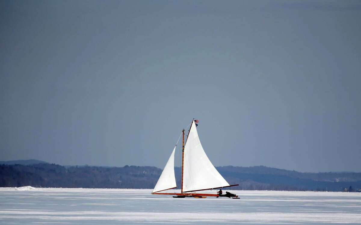 The ice boat Jack Frost sails along the Hudson River on Saturday, March 1, 2014, in Barrytown, N.Y. This year's frigid winter has created excellent conditions for ice sailing on the Hudson River in New York. (AP Photo/Mike Groll) ORG XMIT: NYMG202