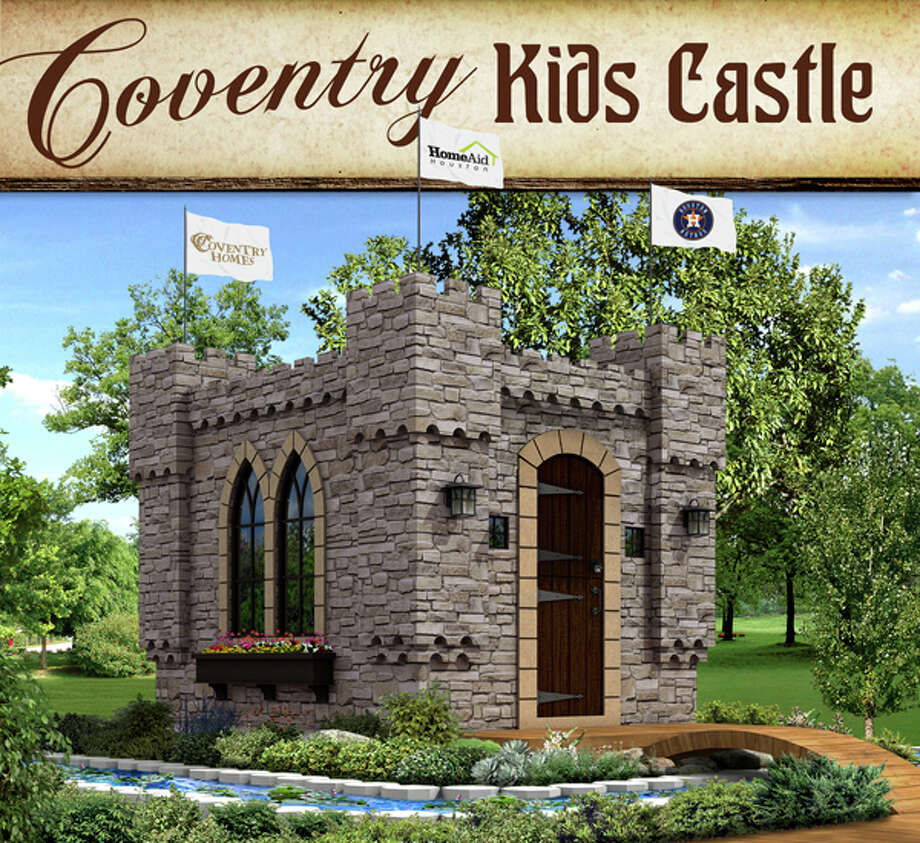 Coventry Homes/Plantation Homes (MHI) and HomeAid unveiled the 2014 playhouse design at the March Greater Houston Builders Association's board meeting revealing the Coventry Kids Castle, a storybook-style castle.