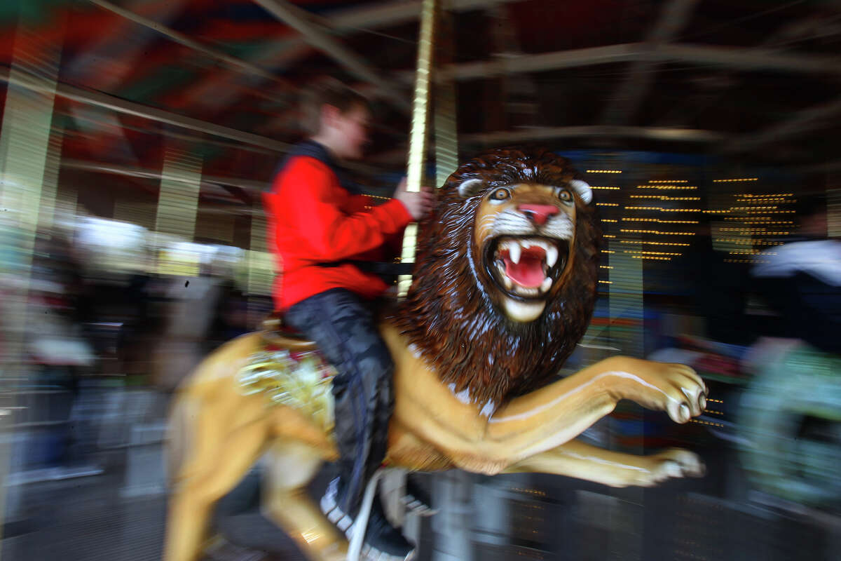 A lion figure twirls by on the new carousel ride Friday March 7, 2014 during the opening of Zootennial Plaza at the San Antonio Zoo. The new $8 million project marks the zoo's 100th anniversary and features a restaurant and gathering area also.