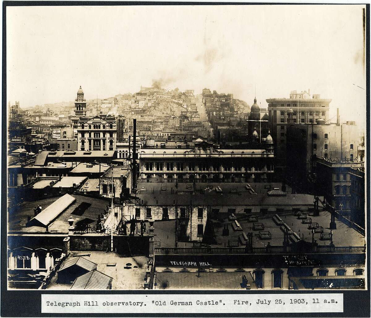 """Telegraph Hill Observatory. """"Old German Castle."""" fire, July 25, 1903, 11 a.m."""