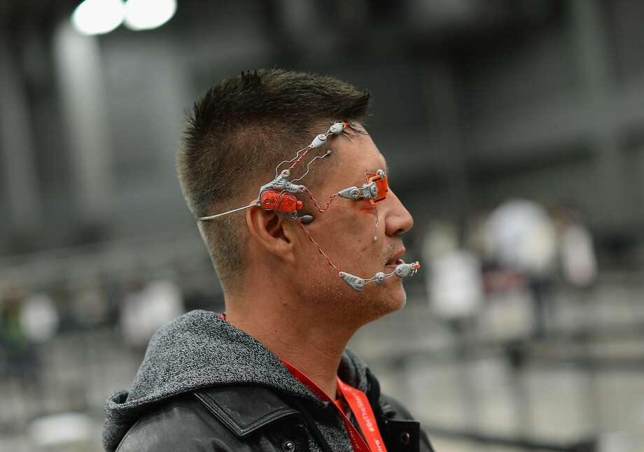 You will be assimilated. Resistance is futile: Rich MacKinnon gears up for the South by Southwest Music, Film + Interactive Festival in Austin, Texas, with his own answer to Google Glass. Photo: Michael Buckner, Getty Images For SXSW