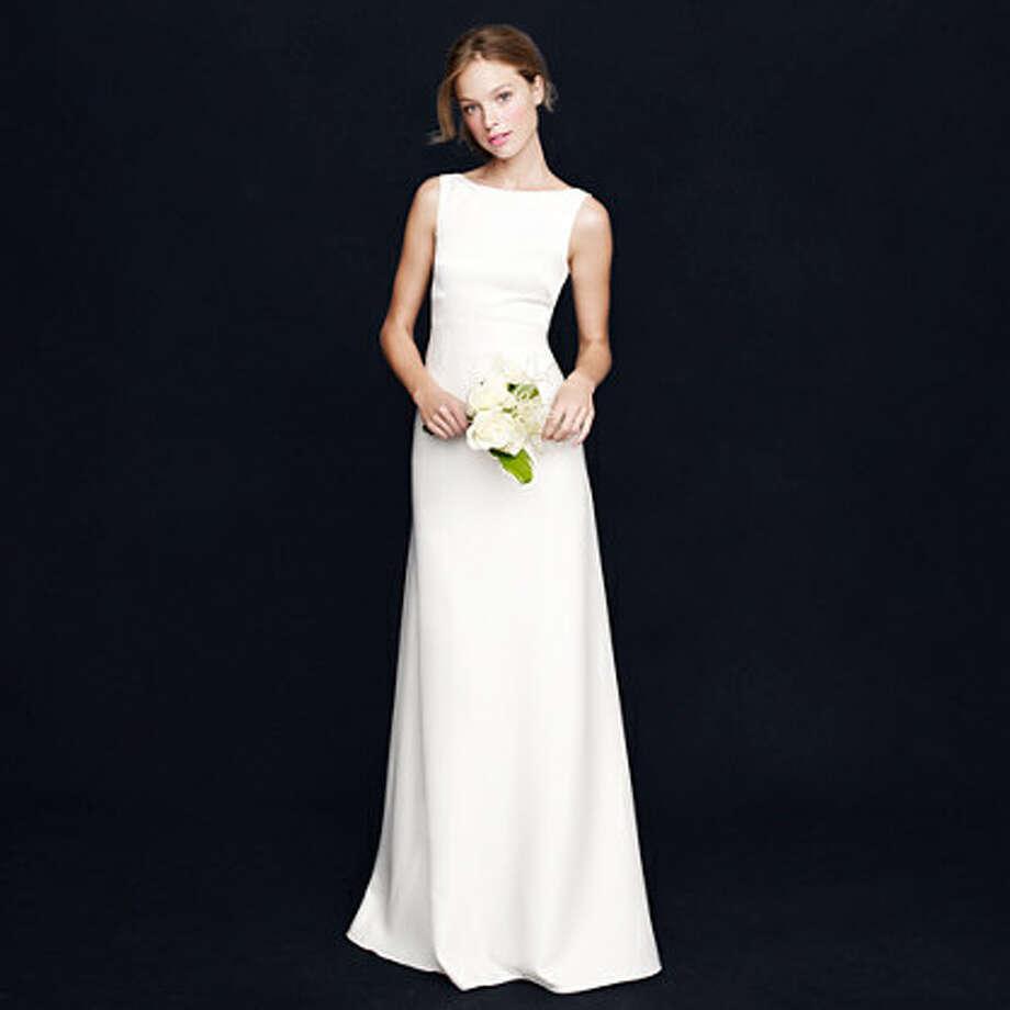 Elegant simplicity. Percy Gown, $650, jcrew.com. Photo: J. Crew