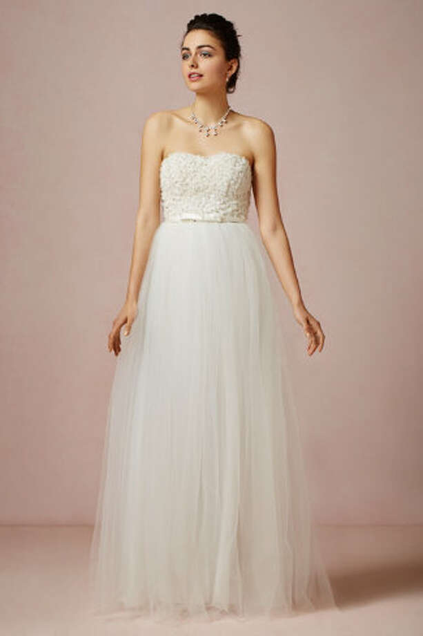 This princess-style dress will appeal to the classic bride. Titania Gown, $1000,  BHLDN.com. Photo: BHLDN