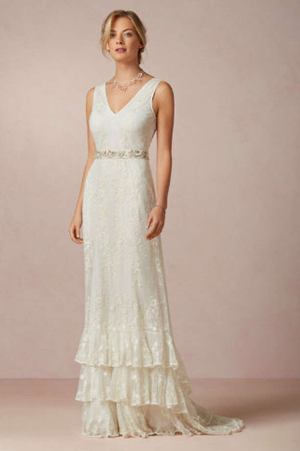 This vintage-style gown has an elegant silhouette. Madeline Gown, $1000, BHLDN.com. Photo: BHLDN