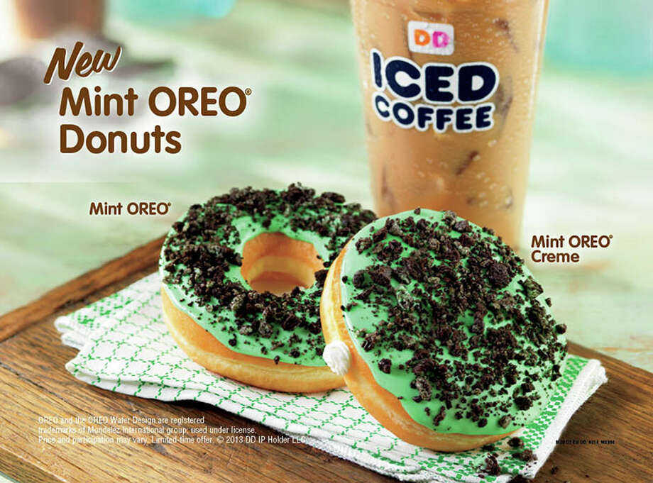 The March menu includes Irish Cré¨me and Mocha Irish Cré¨me coffees and lattes, Mint Hot Chocolate and two new donuts, Cool Mint OREO and Mint OREO Creme. Photo: Courtesy