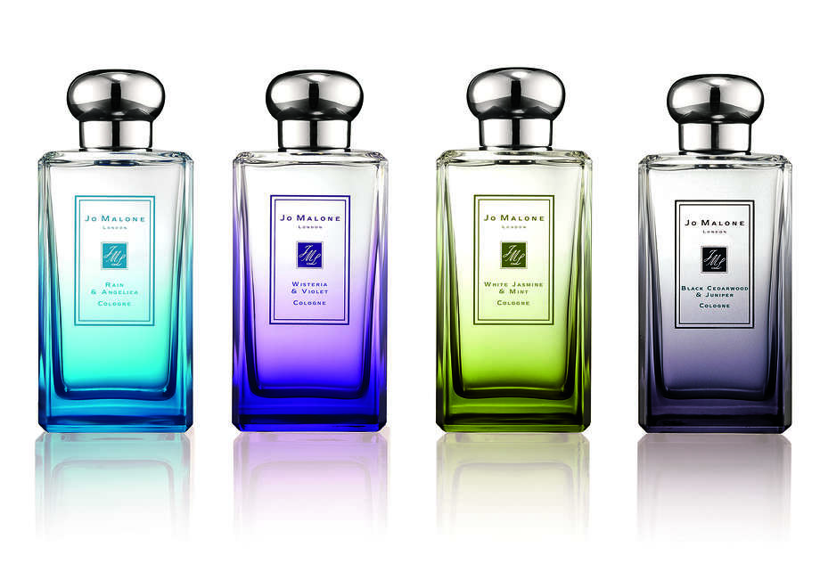 London Rain is Jo Malone's limited edition fragrance collection for Spring 2014. It includes four new scents: Rain & Angelica, Wisteria & Violet, White Jasmine & Mint and Black Cedarwood & Juniper. Photo: Jo Malone / Jo Malone