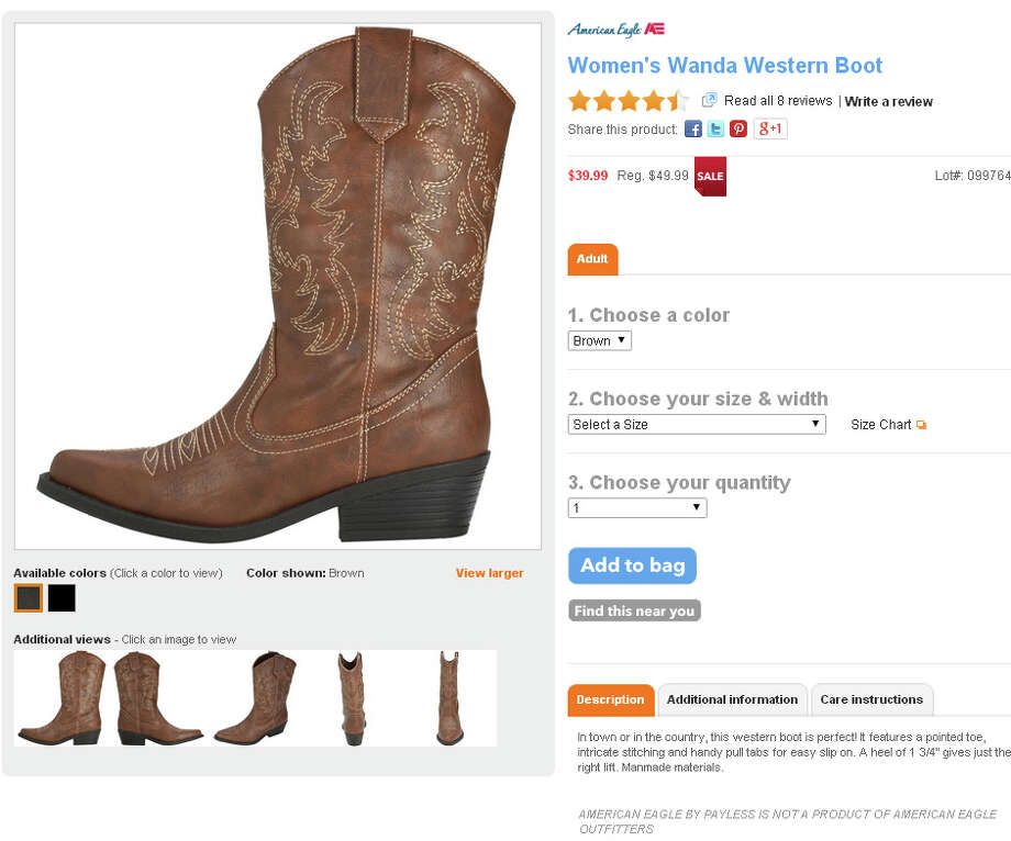 Women's Wanda Western boot from Payless, $39.99-49.99 Photo: Payless.com