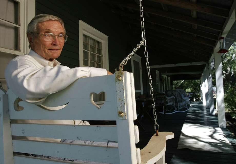 Leon Hale, longtime columnist with the Houston Chronicle, photographed on the infamous front porch, which was immortalized in numerous columns, in Winedale, Texas, Monday September 25, 2006.   (Karen Warren/ Houston Chronicle) Photo: KAREN WARREN, STAFF / Houston Chronicle