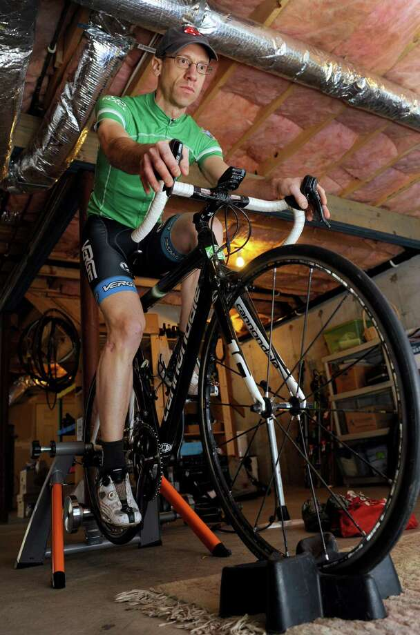 Monte Frank, an Sandy Hook bicyclist, and an assistant town attorney, is the leader of the Team 26 ride to Washington, D.C. He is a gun control legislation advocate. He is photographed training at his Sandy Hook home, Thursday, March 6, 2014. Photo: Carol Kaliff / The News-Times