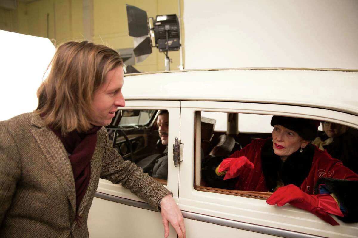 Wes Anderson and Tilda Swinton on the set of the film The Grand Budapest Hotel