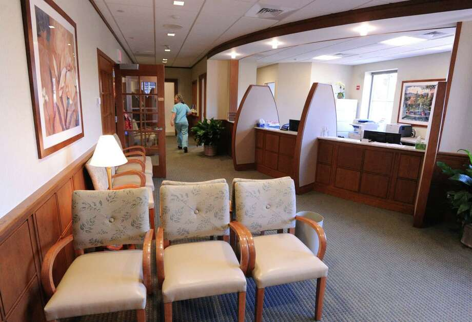 The recently renovated lobby of the Greenwich Hospital/Yale New Haven Health Bendheim Cancer Center at 77 Lafayette Place , Greenwich. Photo: Bob Luckey / Greenwich Time