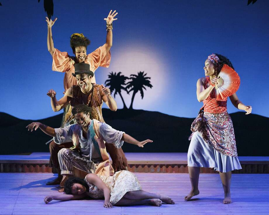 """Island's"" Salisha Thomas (clockwise, from right), Omari Tau, Max Kumangai, Safiya Fredericks, Adrienne Muller. Photo: Mark Kitaoka"