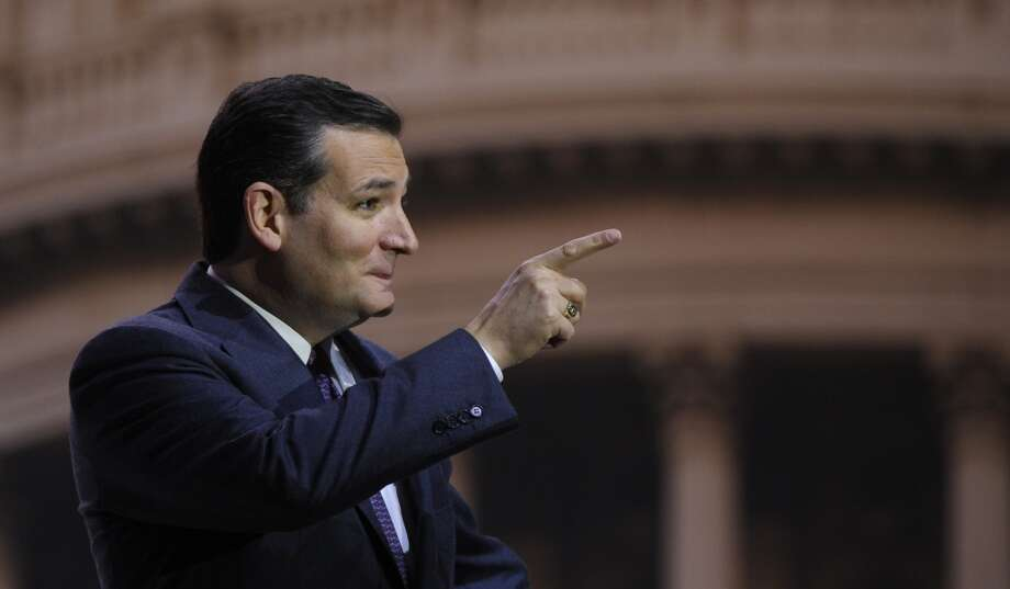 """""""How do we inspire young people?"""" Sen. Ted Cruz, R-Texas, asked the crowd. """"We tell the truth."""" Cruz then immediately followed that quote up with """"impersonations"""" of former NBC """"Tonight Show"""" host Jay Leno. Photo: Susan Walsh, Associated Press"""