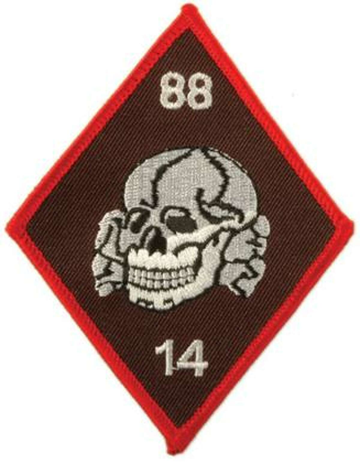 """Totenkopf patch worn by many racist skinheads. """"14"""" stands for the """"14 words"""" slogan coined by David Lane. """"88"""" stands for """"Heil Hitler,"""" as H is the eighth letter of the alphabet. (Photo courtesy of the Southern Poverty Law Center)"""