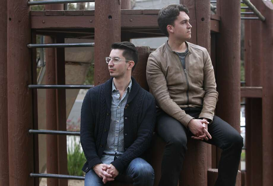 Chrys Bader (left) and David Byttow near their South Park office. Both Secret co-founders were previously at Google. Photo: Paul Chinn, The Chronicle