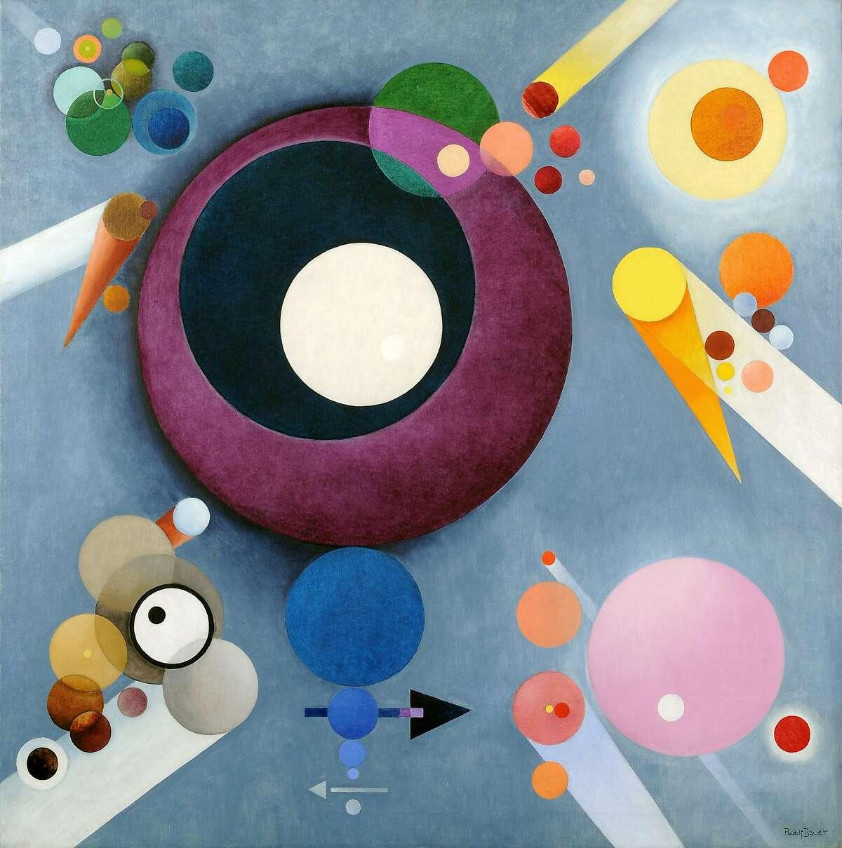Rudolf Bauer's Spiritual Pleasures, oil on canvas, 1935-1938.