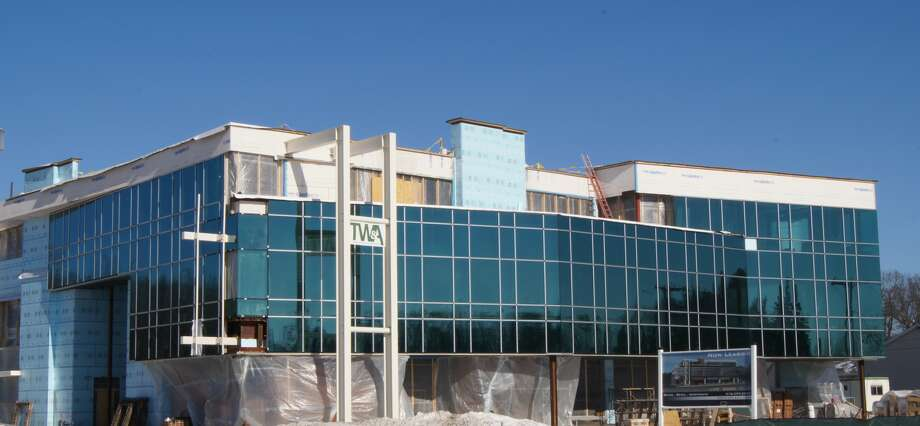 The new Socha Plaza mixed-use building is nearing completion on Route 50 in Glenville.