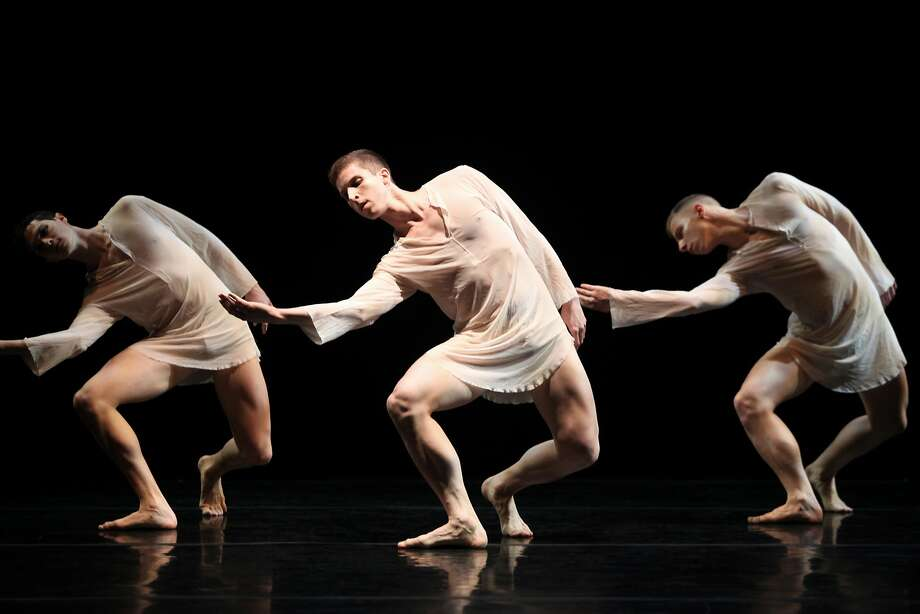 "Joshua Tuason (left), Josh D Green and Nicholas Sciscione perform in Stephen Petronio's ""Like Lazarus Did."" The troupe performs at Yerba Buena. Photo: Julieta Cervantes"