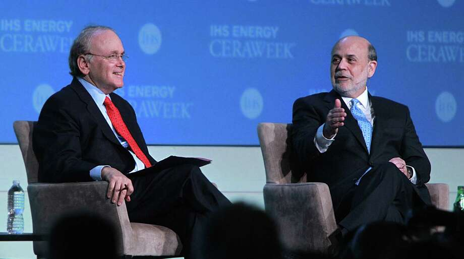 IHS Vice Chairman Daniel Yergin (left) leads a discussion with Ben Bernanke, former chairman of the U.S. Federal Reserve System, to close out IHS CERAWeek in Houston. Photo: Mayra Beltran / Houston Chronicle / © 2014 Houston Chronicle