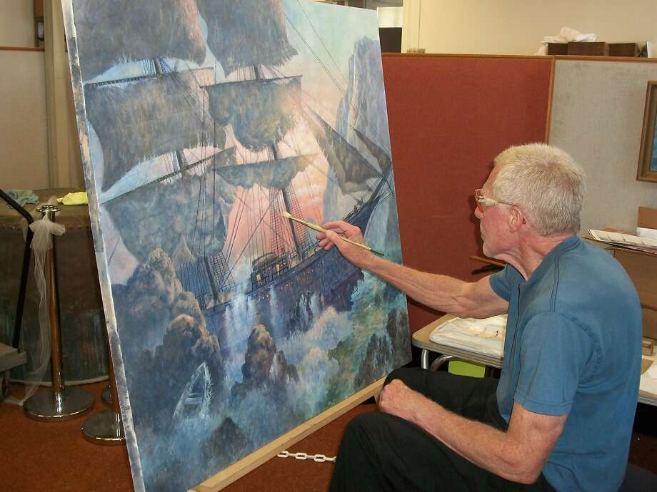 Artist Fred Sinclair's painting of the 1876 shipwreck of the Rydal Hall off the San Mateo County coast is also at the museum. Photo: San Mateo County History Museum