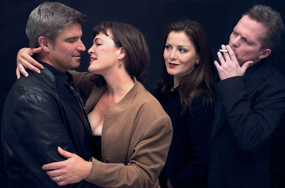 "Man (Chris Pflueger), Woman (Lucia Frangione) and demons Ms. D (Arnica Skulstad Brown) and Mr. D (JP Allen) in ""Love and Demons."" Photo: Coffee & Language Productions"
