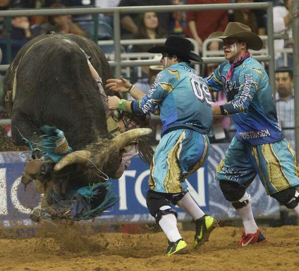 Brett Stall competes in the BP Super Series II Round 1 Bull Riding competition during Houston Livest
