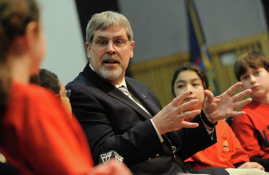 Captain Richard Phillips is interviewed by a group of Pennsylvania elementary school students at the New York State Museum on Friday, March 7, 2014, in Albany, N.Y. The students were fifth grade reporters from DVE-TV and DV-News. (Lori Van Buren / Times Union) Photo: Lori Van Buren / 00026055A