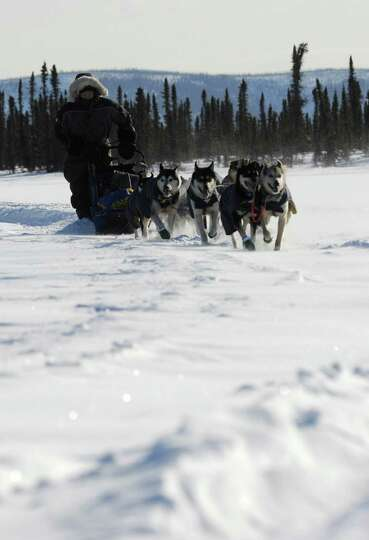 Mike Williams Jr. of Akiak, Ak., arrives at the Cripple checkpoint during the 2014 Iditarod Trail Sl