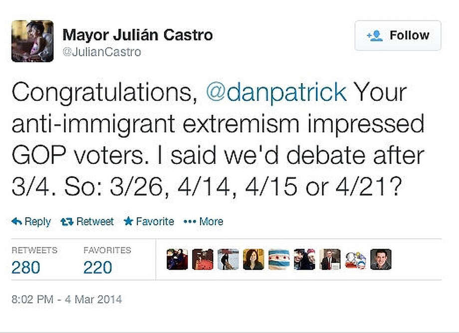 Tweets between Democrat Mayor Julian Castro and Republican Sen. Dan Patrick are seen in screen captures taken from their Twitter feeds. Photo: Courtesy / Twitter