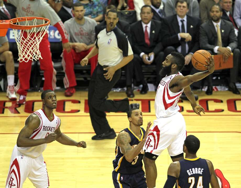 March 7: Rockets 112, Pacers 86  Rockets shooting guard James Harden dunks in the third quarter. Photo: James Nielsen, Houston Chronicle