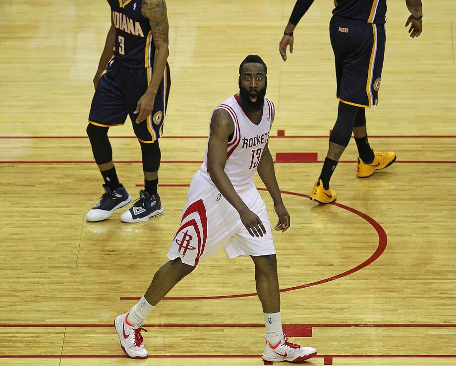 Rockets shooting guard James Harden reacts after dunking. Photo: James Nielsen, Houston Chronicle