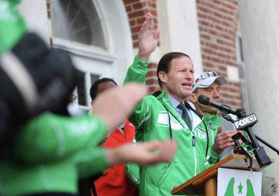 "U.S. Senator Richard Blumenthal speaks during the Team 26 cyclist send-off at Edmond Town Hall in Newtown, Conn. Saturday, March 8, 2014.  Team 26 will ride to Washington, D.C. over the course of four days to push for ""common sense"" gun legislation, making stops in Ridgefield, Greenwich, Harlem, N.Y., Morristown, N.J., Doylestown, Pa. and Baltimore, Md. along the way.  The send-off featured several speakers including Team 26 founder Monte Frank and Mark Bardon, who lost his son, Daniel, in the Sandy Hook Elementary School shooting. U.S. Rep. Elizabeth Esty and U.S. Senator Richard Blumenthal also spoke at the event, wishing good luck to the 26 riders. Photo: Tyler Sizemore / The News-Times"