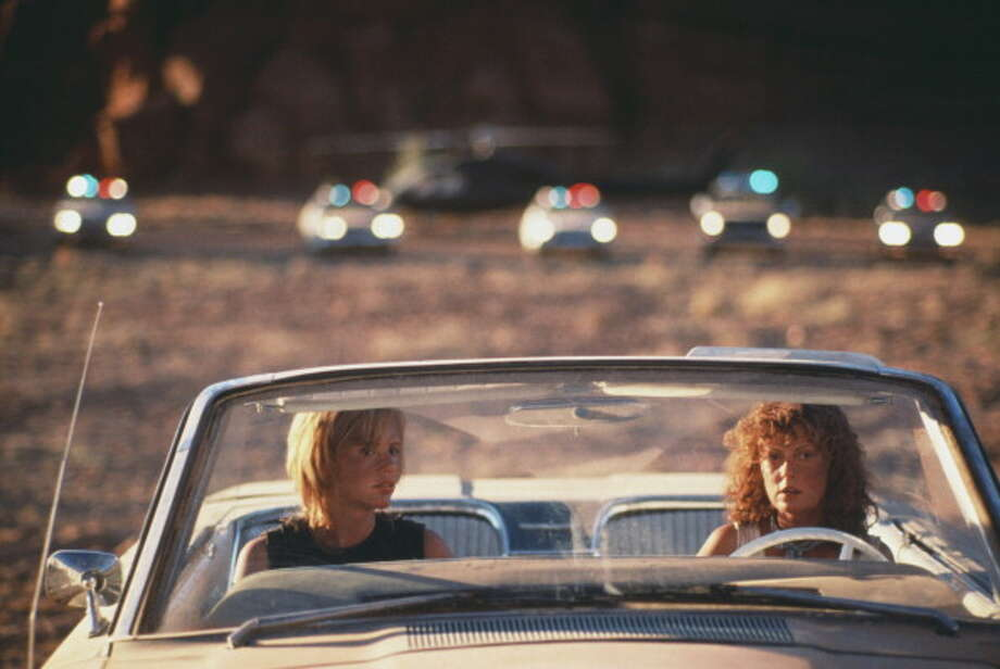 Actresses Geena Davis (left) and Susan Sarandon weigh up their options in the film 'Thelma And Louise', 1991. (Photo by Fotos International/Getty Images) Photo: Fotos International, Getty Images / 2011 Getty Images
