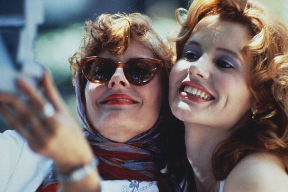 Actresses Susan Sarandon (left) and Geena Davis star in the film 'Thelma And Louise', 1991. (Photo by Fotos International/Getty Images) Photo: Fotos International, Getty Images / 2011 Getty Images