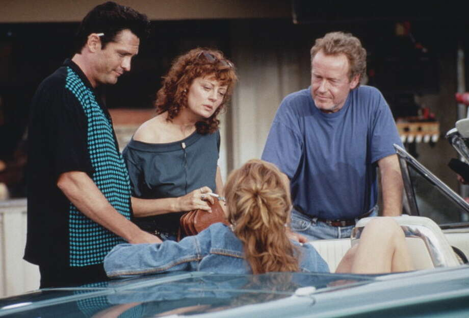 From left to right, actor Michael Madsen, actresses Susan Sarandon and Geena Davis, and director Ridley Scott on the set of the film 'Thelma And Louise', 1991. (Photo by Fotos International/Getty Images) Photo: Fotos International, Getty Images / 2011 Getty Images