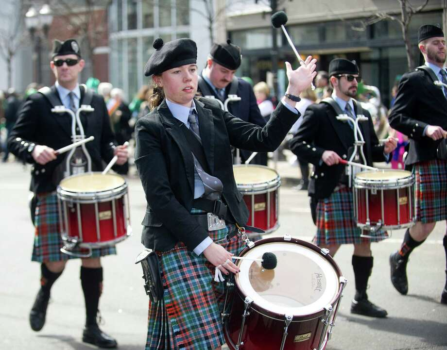 The NY Metro Pipe Band performs during the 19th annual St. Patrick's Day parade in Stamford, Conn., on Saturday, March 8, 2014. Photo: Lindsay Perry / Stamford Advocate