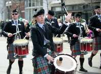 The NY Metro Pipe Band performs during the 19th annual St. Patrick's Day parade in Stamford, Conn., on Saturday, March 8, 2014.
