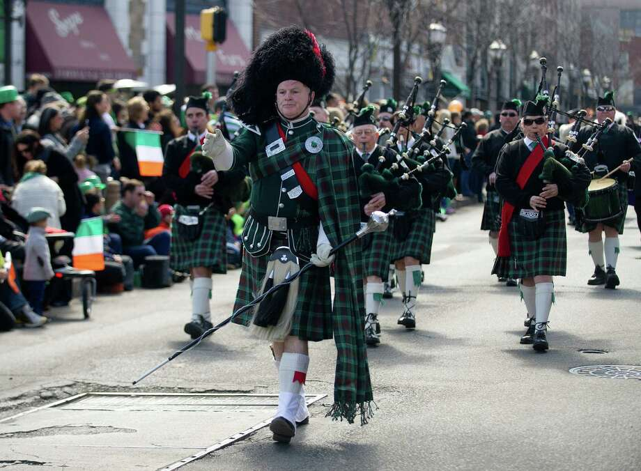 The Fairfield Gaelic Pipe Band performs during the 19th annual St. Patrick's Day parade in Stamford, Conn., on Saturday, March 8, 2014. Photo: Lindsay Perry / Stamford Advocate