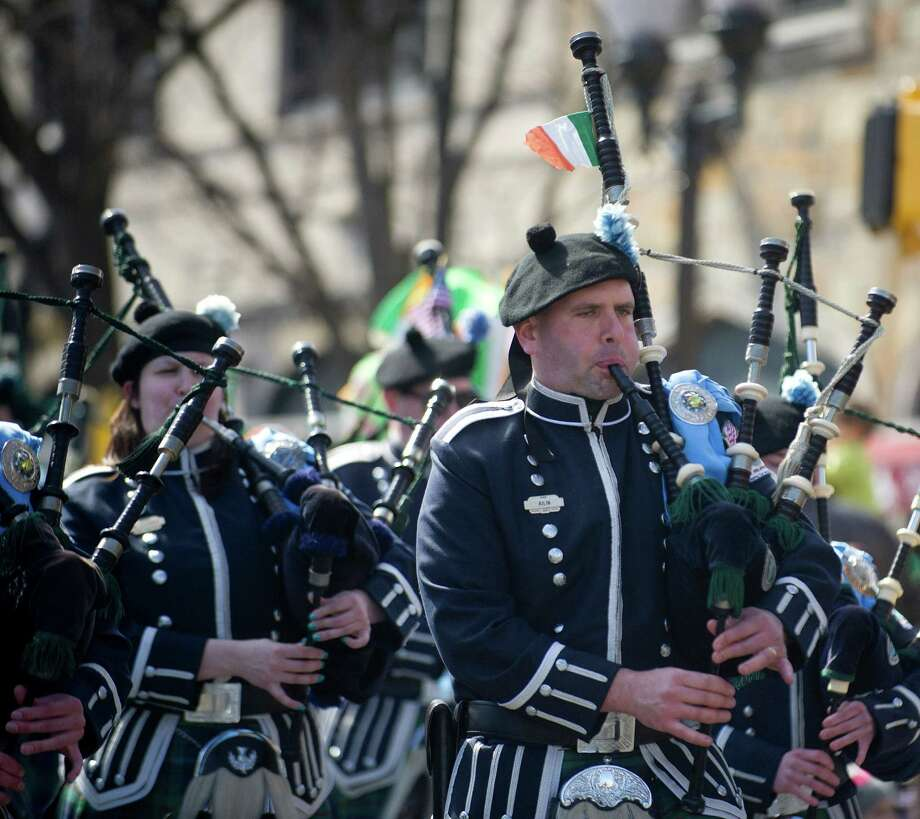 A pipe band performs during the 19th annual St. Patrick's Day parade in Stamford, Conn., on Saturday, March 8, 2014. Photo: Lindsay Perry / Stamford Advocate