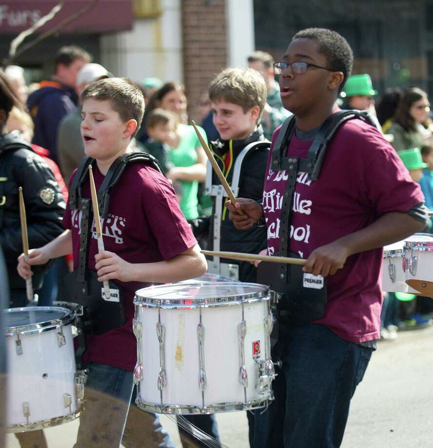 Turn of River Middle School's marching band performs in the 19th annual St. Patrick's Day parade in Stamford, Conn., on Saturday, March 8, 2014. Photo: Lindsay Perry / Stamford Advocate